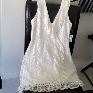 Charlotte russe white Lacey mini dress NWT L